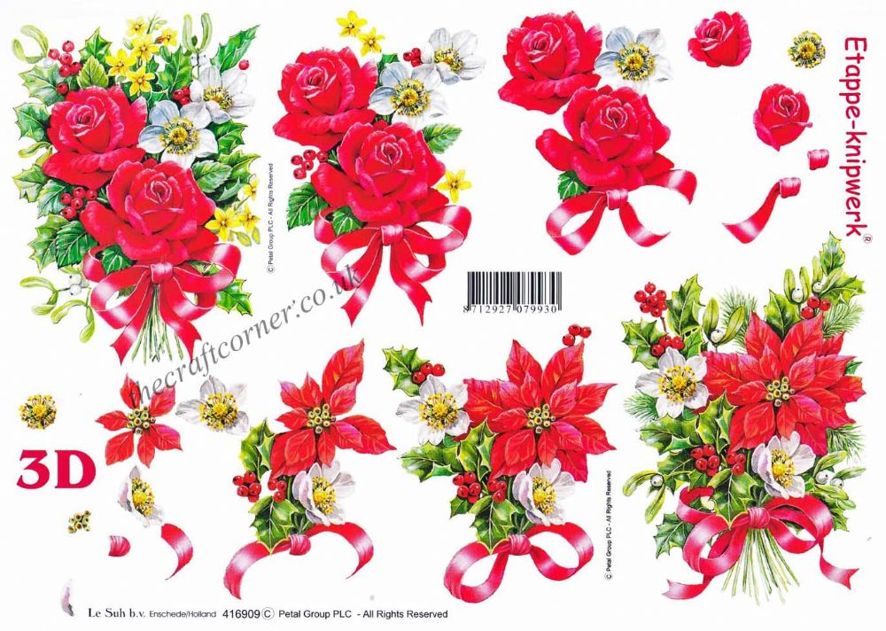 Christmas Flower Bouquets And Ribbon Designs 3d Decoupage